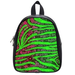 Florescent Green Zebra Print Abstract  School Bags (small)