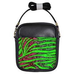 Florescent Green Zebra Print Abstract  Girls Sling Bags by OCDesignss