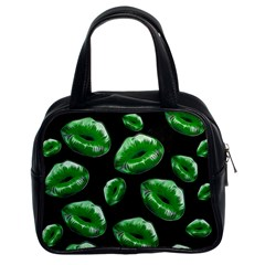Sassy Florescent Green Lips Classic Handbags (2 Sides) by OCDesignss