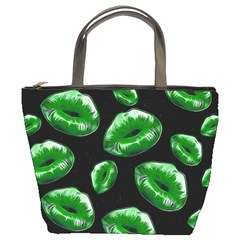 Sassy Florescent Green Lips Bucket Bags