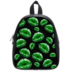 Sassy Florescent Green Lips School Bags (small)