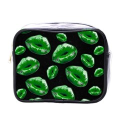 Sassy Florescent Green Lips Mini Toiletries Bags