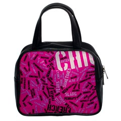 Hot Pink Chic Typography  Classic Handbags (2 Sides)