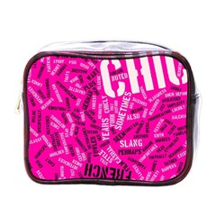 Hot Pink Chic Typography  Mini Toiletries Bags
