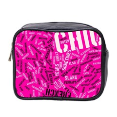 Hot Pink Chic Typography  Mini Toiletries Bag 2 Side