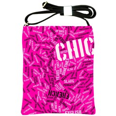 Hot Pink Chic Typography  Shoulder Sling Bags by OCDesignss