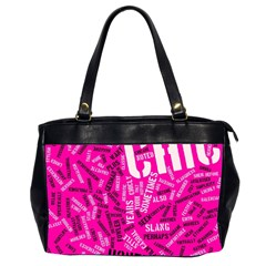 Hot Pink Chic Typography  Office Handbags (2 Sides)