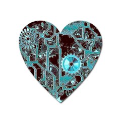 Steampunk Gears Turquoise Heart Magnet by MoreColorsinLife
