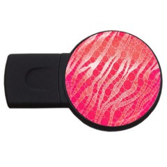 Florescent Pink Zebra Pattern  Usb Flash Drive Round (4 Gb)  by OCDesignss
