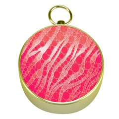 Florescent Pink Zebra Pattern  Gold Compasses by OCDesignss