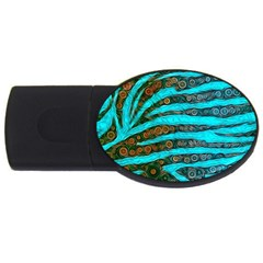 Turquoise Blue Zebra Abstract  Usb Flash Drive Oval (2 Gb)  by OCDesignss