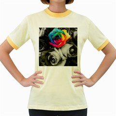 Blach,white Splash Roses Women s Fitted Ringer T Shirts