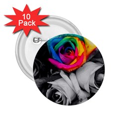 Blach,white Splash Roses 2 25  Buttons (10 Pack)  by MoreColorsinLife
