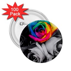 Blach,white Splash Roses 2 25  Buttons (100 Pack)