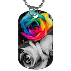 Blach,white Splash Roses Dog Tag (one Side) by MoreColorsinLife