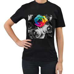 Blach,white Splash Roses Women s T Shirt (black) (two Sided)