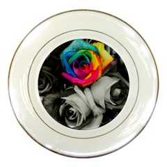 Blach,white Splash Roses Porcelain Plates