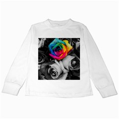 Blach,white Splash Roses Kids Long Sleeve T Shirts by MoreColorsinLife