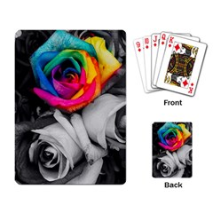 Blach,white Splash Roses Playing Card by MoreColorsinLife