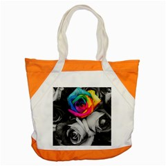 Blach,white Splash Roses Accent Tote Bag  by MoreColorsinLife
