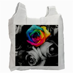 Blach,white Splash Roses Recycle Bag (one Side)