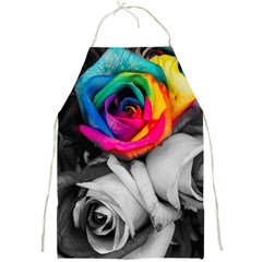 Blach,white Splash Roses Full Print Aprons by MoreColorsinLife