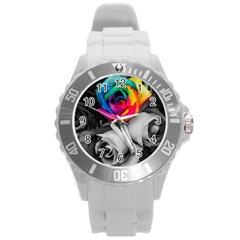 Blach,white Splash Roses Round Plastic Sport Watch (l) by MoreColorsinLife
