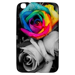 Blach,white Splash Roses Samsung Galaxy Tab 3 (8 ) T3100 Hardshell Case  by MoreColorsinLife