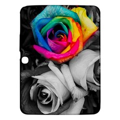 Blach,white Splash Roses Samsung Galaxy Tab 3 (10 1 ) P5200 Hardshell Case  by MoreColorsinLife