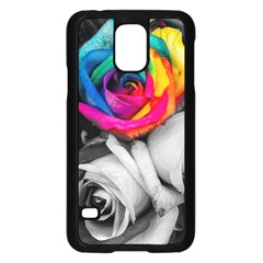 Blach,white Splash Roses Samsung Galaxy S5 Case (black) by MoreColorsinLife
