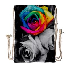 Blach,white Splash Roses Drawstring Bag (large) by MoreColorsinLife