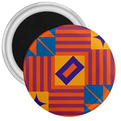 Shapes And Stripes Symmetric Design 3  Magnet by LalyLauraFLM