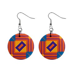 Shapes And Stripes Symmetric Design 1  Button Earrings by LalyLauraFLM
