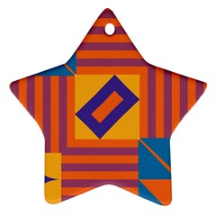 Shapes And Stripes Symmetric Design Star Ornament (two Sides) by LalyLauraFLM