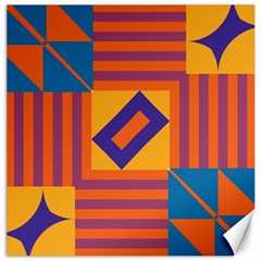 Shapes And Stripes Symmetric Design Canvas 20  X 20  by LalyLauraFLM