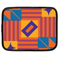 Shapes And Stripes Symmetric Design Netbook Case (large)	 by LalyLauraFLM
