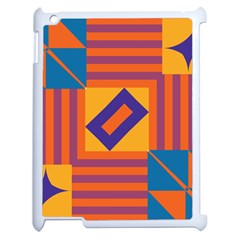 Shapes And Stripes Symmetric Design Apple Ipad 2 Case (white) by LalyLauraFLM
