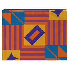 Shapes And Stripes Symmetric Design Cosmetic Bag (xxxl) by LalyLauraFLM