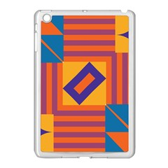 Shapes And Stripes Symmetric Design Apple Ipad Mini Case (white) by LalyLauraFLM