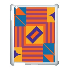 Shapes And Stripes Symmetric Design Apple Ipad 3/4 Case (white) by LalyLauraFLM