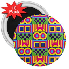 Colorful Shapes In Rhombus Pattern 3  Magnet (10 Pack) by LalyLauraFLM