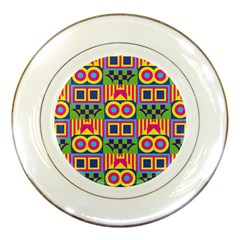 Colorful Shapes In Rhombus Pattern Porcelain Plate by LalyLauraFLM