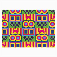Colorful Shapes In Rhombus Pattern Large Glasses Cloth (2 Sides) by LalyLauraFLM