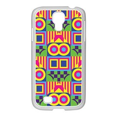 Colorful Shapes In Rhombus Pattern Samsung Galaxy S4 I9500/ I9505 Case (white) by LalyLauraFLM