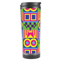 Colorful Shapes In Rhombus Pattern Travel Tumbler by LalyLauraFLM