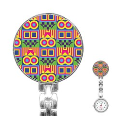 Colorful Shapes In Rhombus Pattern Stainless Steel Nurses Watch by LalyLauraFLM