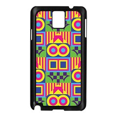 Colorful Shapes In Rhombus Pattern Samsung Galaxy Note 3 N9005 Case (black) by LalyLauraFLM