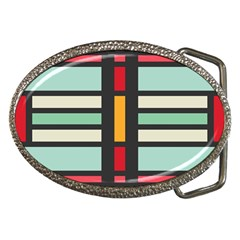 Mirrored Rectangles In Retro Colors Belt Buckle by LalyLauraFLM