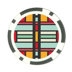 Mirrored Rectangles In Retro Colors Poker Chip Card Guard by LalyLauraFLM