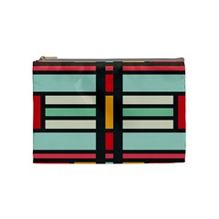 Mirrored Rectangles In Retro Colors Cosmetic Bag (medium) by LalyLauraFLM